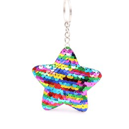 $enCountryForm.capitalKeyWord NZ - Sequin Five-pointed Star Keychains for Women Purse Bag Charm Pendant Car Key Ring Chain @M23