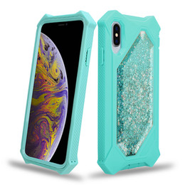 liquid gold blue UK - Hybird 2in1 Heavy duty defender quicksand phone case for iPhone x xr xs max 6 7 8 plus liquid glitter sand shockproof cover