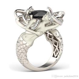 Women Black Ring Australia - Victoria Wieck Fashion Jewelry 925 Sterling Silver Black Sapphire CZ Diamond Gemtones Wedding Engagement Mermaid Women Ring Gift Size 5-11