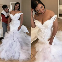 3d chocolates online shopping - Gorgeous Pearls Mermaid Wedding Dresses Off The Shoulder D Appliqued Bridal Gowns Sweep Train Tulle Tiered robes de mariée