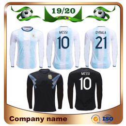 19c126328 2019 Copa America Argentina long sleeve Soccer Jersey 19 20 Home  10 Messi   21 Dybala  9 AGUERO Soccer Shirts national team Football Uniform