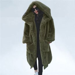long green jacket fur hood Canada - Oversized Winter Faux Fur Coat Women Parka Long Warm Faux Fur Jacket Coats Hoodies Loose Winter Coat Outwear casaco feminino CJ191214