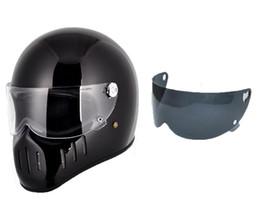$enCountryForm.capitalKeyWord NZ - FPR full Face Motorcycle Vintage helmet with clear visor+ black visor pig mounth for dirt bike Cafe racer custom motocross cycling