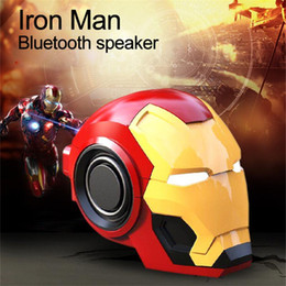 $enCountryForm.capitalKeyWord Australia - Iron Man Helmet Bluetooth Speaker 2 Colors Marvel Cartoon Mini Wireless Speaker MP3 Player Sound Box  FM TF USB drive Aux- For iOS Andriod