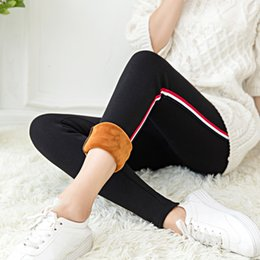 $enCountryForm.capitalKeyWord Australia - Wkoud Winter Leggings For Women High Waist Stretch Warm Legging Side Striped Patchwork Thicken Pencil Pants Hot Joggers P663 T190825