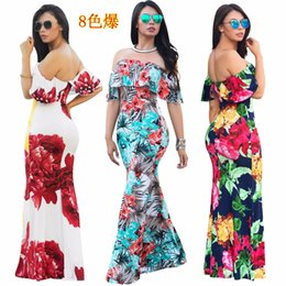 blue floral print evening gown NZ - Women Floral Print Off Shoulder Short Sleeve Boho Bodycon Dress Evening Gown Party Long Maxi Dress Summer Sundress