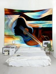 $enCountryForm.capitalKeyWord Australia - Guitar Painting Print Tapestry Wall Hanging Art Tapestries For Home Decoration