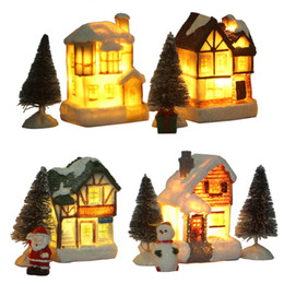 Tiny Christmas Gifts Australia - Christmas DIY Doll Tiny House with Tree and Figurine Decorations LED Light Xms Gift