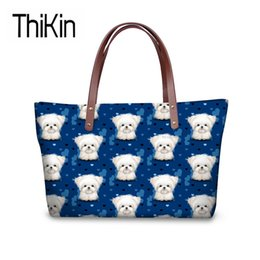 Discount cute black hand bags - THIKIN Women's Top-Handle Bags Cute Maltese Printing Handbags Ladies Fashion Shoulder Tote Bag for Females Large Ha
