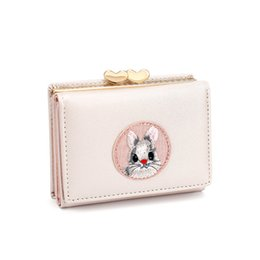 cute cloth purses Australia - Cute Multi-card Women Wallet Rabbit Cloth Stickers Change Folder Japanese Kawaii Girl Short Multi-function Coin Purse Card Sets