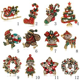 Snowmen broocheS online shopping - Retro Christmas series pin Christmas tree bells penguins snowmen Santa Claus decorated with different colored rhinestone brooch