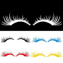 funny charms wholesale UK - 2Pcs Pair 3D Charming False Eyelashes Fake Eye Lash Sticker Car Headlight Decoration Funny Decal Car Stickers