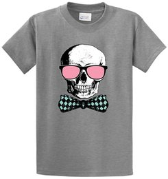 Compression Shorts For Men Australia - Personalized Tees Crew Neck Short Sleeve Compression Skull W Pink Glasses And Bowtie Printed Tee Shirt T Shirts For Men