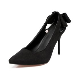 sexy suit bowknot Australia - Cheap Wholesale Sexy Stiletto High Heels Pointed Toe Dress Shoes Women Formal Suits Bowknot Thin High Heels