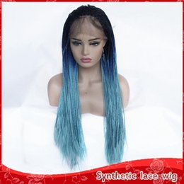 $enCountryForm.capitalKeyWord NZ - Sexy Black Roots Ombre Blue Green Color Long Braided Wigs Heat Resistant Glueless Synthetic Lace Front Wigs 3 Colors Cosplay Wigs for Women