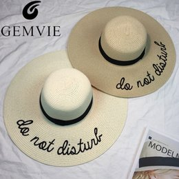 white floppy hats NZ - Fashion Ladies Large Wide Brim Sun Hat For Women Embroidery Do Not Disturb Panama Summer Straw Hats Floppy Beach Hat C18122501