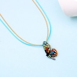 Sweet Cute Gifts Australia - 2019 Summer New Arrival Ins Style Korean Temperament Colorful Crystal Sweet Cute Butterfly Female Pendant Necklace Gift 6 Colors N5234