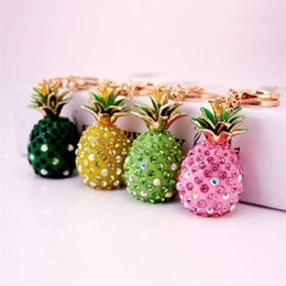 Keychain bucKle gold online shopping - Rhinestone Fruit Modeling Resin Key Buckle Creative Alloy Pineapple Automobile Keys Ring Female Bag Pendant Keychain Gift hy I1