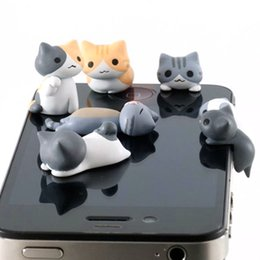 cute earphones for iphone NZ - 1pcs Cute Cheese Cats 3.5mm Anti dust Dirt-resistant Earphone Jack Plug Adapter to Phone Stopper Cap for iphone 5 5s 5c random
