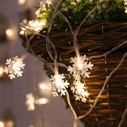 Decor Ornament Australia - 3M 6M 20 40 LED Lights Christmas Tree Ornaments Snow Flakes Led String Fairy Light Xmas Party Home Garden Wedding Light Decor