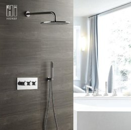 concealed shower set Australia - High Quality Conceal Rain Shower Set Dia 300mm Brass Chrome Finish Round Shower System with Handheld Spray Thermostic Shower Controller