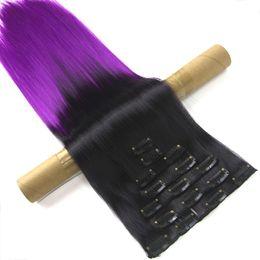 Clip Hair Black Australia - 7pcs set 16 Clips Straight Black To Purple Ombre Synthetic Hairpiece Full Head Clip In Hair Aplique De Cabelo