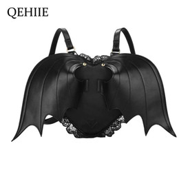 black angel wings girls Australia - Women Backpack Bat Wing Backpack Punk Stylish Newest School Bag For Girls Bat Bag Angel Wings Backpack Cute Little Devil PackageMX190823