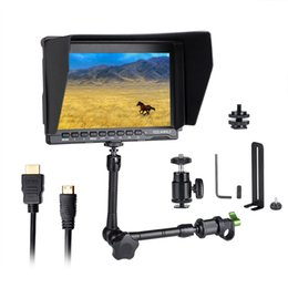 "adjustable arm for camera NZ - Freeshipping FW759 7"" LCD DSLR Camera HD IPS 1280x800 HDMI Field Monitor for BMPCC + 15mm Rod Clamp + 11"" Magic Adjustable Arm"