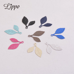 Brass Leaf Charms Australia - 100pcs AC818 15*20mm Spray Paint baking Varnish Enamel Small leaf charms painted color Brass small pendant for Earrings