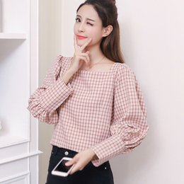 $enCountryForm.capitalKeyWord NZ - New 2019 Fashion Retro Plaid Tops Women Chiffon Blouse Ladies Slash Neck Puff Sleeve Shirts Female Checkered Blusas Mujer