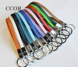 Ring Slides Australia - 10PCS Mixed color 8MM Copy Leather DIY Keychains, Key Rings Keychain Fit 8mm Slide Charms Slide Letters