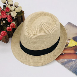$enCountryForm.capitalKeyWord Australia - Summer Beach Straw Sun Hats for Kids Fedora Jazz Cap Panama Hats For Women Men Straw Beach Cap Couple Sun Visor Chapeu