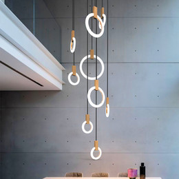 wood ceiling lights Australia - Modern LED stair chandelier lighting Nordic living room ceiling pendant lamps bedroom Acrylic rings fixtures Wood hanging lights