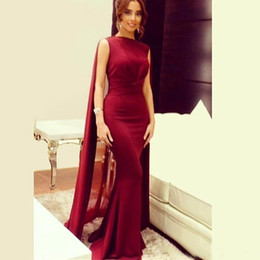 Pakistani sexy Prom online shopping - 2019 Red Carpet Celebrity Dresses with Long Chiffon Cape Wrap Arabic Pakistani Prom Evening Gowns Mermaid Custom Made Maxi Dress