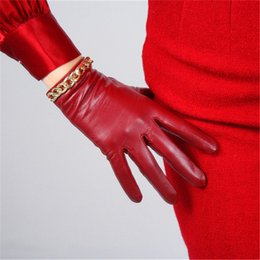 Genuine Leather Gloves Sheepskin Australia - NEW 2019 Pure Sheepskin Gloves China Red Gold Color Chain Thin Velvet Lined Keep Warm Woman's Genuine Leather Gloves TB93-2