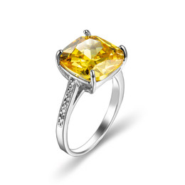 $enCountryForm.capitalKeyWord NZ - Wholesale Square Brazil citrine Gems 2 Color 925 Sterling Silver Plated Ring Christmas Evening Gift Party Jewelry 2 Pcs Lot USA Size 6-10#
