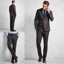 $enCountryForm.capitalKeyWord NZ - Chic Chocolate Grid Mens Suit Custom Made Groom Suit Wedding Suits For Best Men Two Piece Jacket Pants Gentlemen Groom Tuxedos