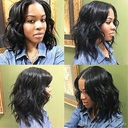 $enCountryForm.capitalKeyWord NZ - Cheap Middle Part Afro Black Brown Short Curly Wavy Synthetic Lace Front Wigs With Baby Hair Heat Resistant Hair For African American Wigs