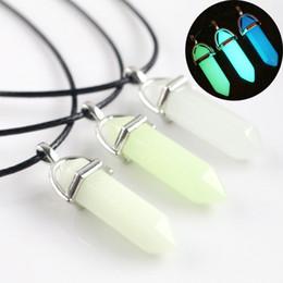 $enCountryForm.capitalKeyWord Australia - Glow in the Dark Natural Stone Necklace For women Quartz Healing Crystal Point Hexagonal bullet Pendant Rope chains Men s Fashion Jewelry