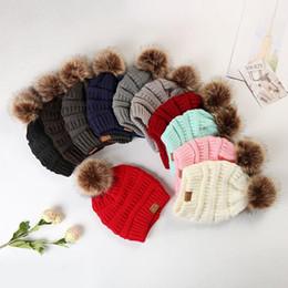 Balls Knit Hats Australia - Large Ball Winter Wool Warm Women Knitted CC Hat Fur Pom Poms Crochet Beanie Ski Cap Bobble Fleece Cable Slouchy Skull Caps 12 Colors 50pcs