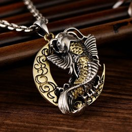 $enCountryForm.capitalKeyWord Australia - Thai Silver Moon And Cute Fish Pendant For Blessing Brimful Happiness Pure 925 Silver Jewelry Best Gift Talisman Amulet J190712