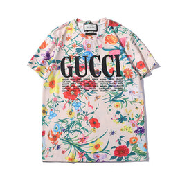 men flower clothes 2019 - Mens T Shirt 2019 Summer New Designer Clothes Fashion Letter Print Short Sleeve Luxury Flower Pattern Top Colorful Tees