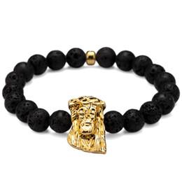 5aadff769e4dcb Volcanic Lava Rock Stone Beads Bracelet With Jesus Head Black Color Fashion  Natura Hip Hop Jewelry Elastic Man Bracelets