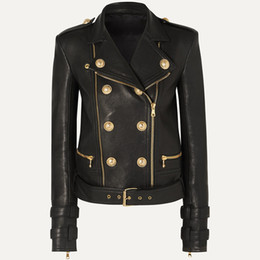 HIGH QUALITY 2020 Newest Designer Jacket Women's Lion Buttons Faux Leather Jacket Motorcycle Biker on Sale