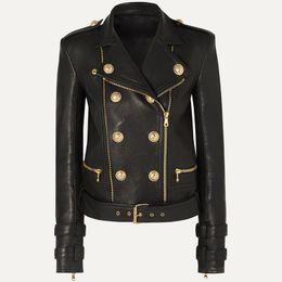 ALTA QUALITA '2020 nuovi Leone Bottoni Faux Leather Jacket giacca designer femminile Motociclista in Offerta