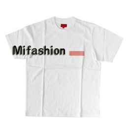 9205d8710b6 Fashion High Quality Summer 19SS Mesh Stripe Pocket Tee Box logo T-shirt  Top Women Sport Cotton Mens Designer Skateboard t shirts Casual Tee