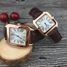 Wholesale Luxury Top Brand Men Women Square Watches Geneva Genuine Leather Strap Quartz Watches For Ladies High Quality Fashion Mens Santo Watches
