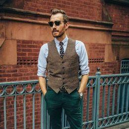 Formal Suits Waistcoat Australia - Brown Groom Vests Men's British Herringbone Tweed Vest Premium Wool Waistcoat Men's Formal Business Suit Vest Casual Dress Waistcoat