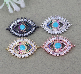 $enCountryForm.capitalKeyWord NZ - 10pcs Metal Copper Micro Pave CZ Evil Eye connector Beads,CZ Oval Evil Eye beads For Bracelet Jewelry Making