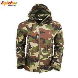 Wholesale shark skin tactical jackets for sale – winter Military Tactical Jacket Men Lurker Shark Skin SoftShell Jacket Windbreaker Army Camouflage Waterproof Hooded Fleece Coats S XL MX191105